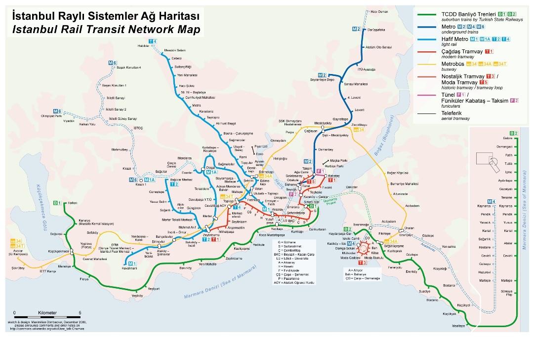 Mapa de transporte en estambul